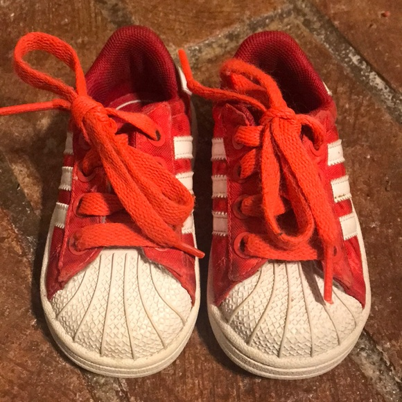 adidas Shoes   Shell Toe Red White Kids
